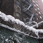 snowy fire escapes