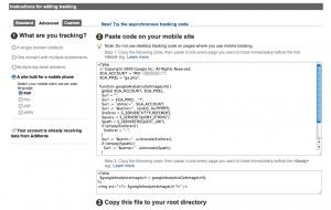 google analytics mobile tracking code
