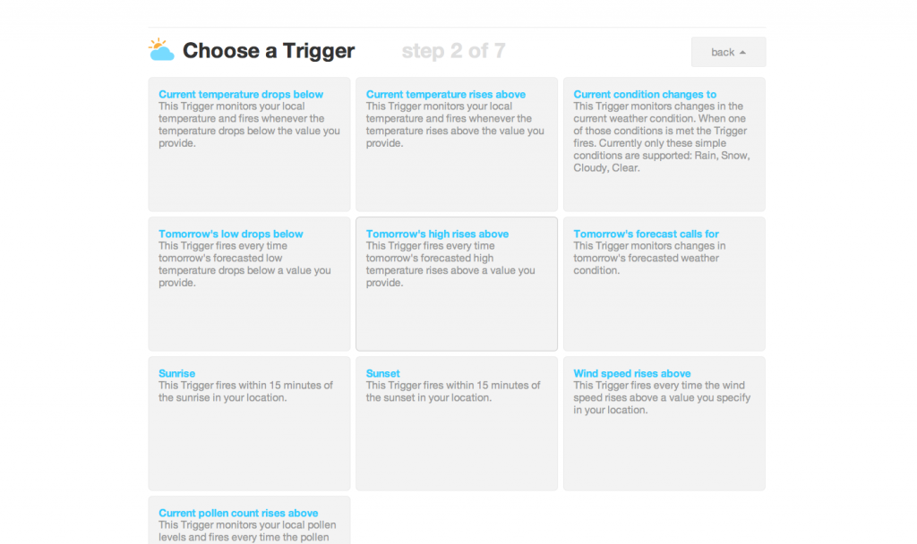IFTTT Recipe Step 2