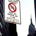 Midtown bike ban sign