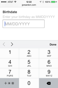 Mobile Date Entry A (numeric)