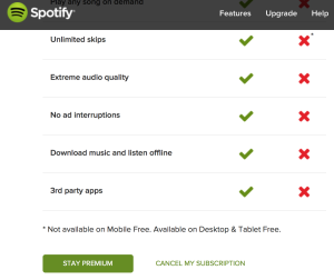 Spotify Cancelation Screenshot 2