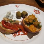 Fire Roasted Peppers with Boquerones and Warm Spanish Style Giant Bean Salad