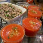 Thai-spiced watermelon soup, pork larb