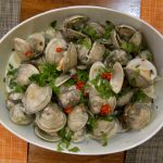 Clams with coconut curry broth