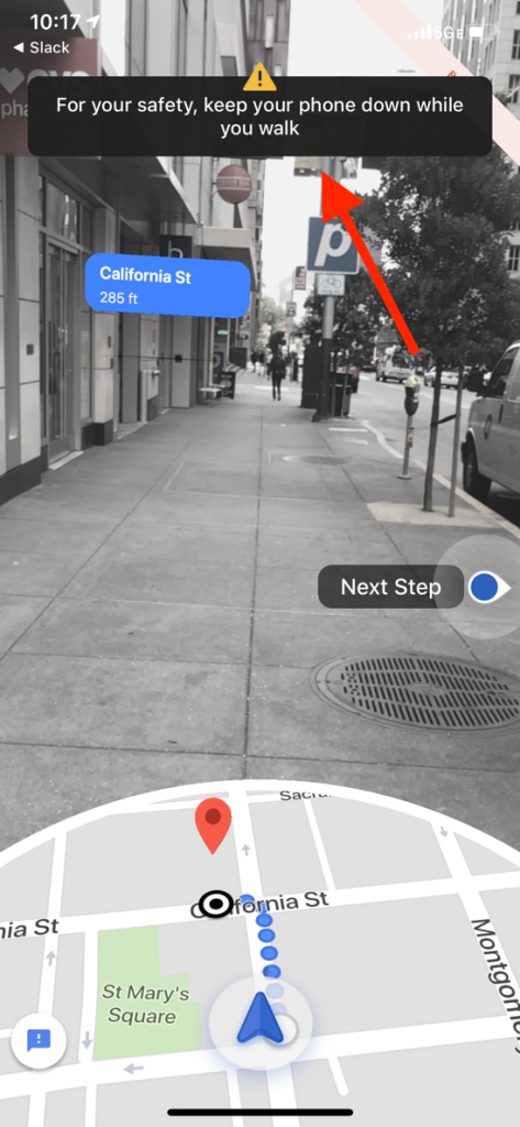 Google maps augmented display